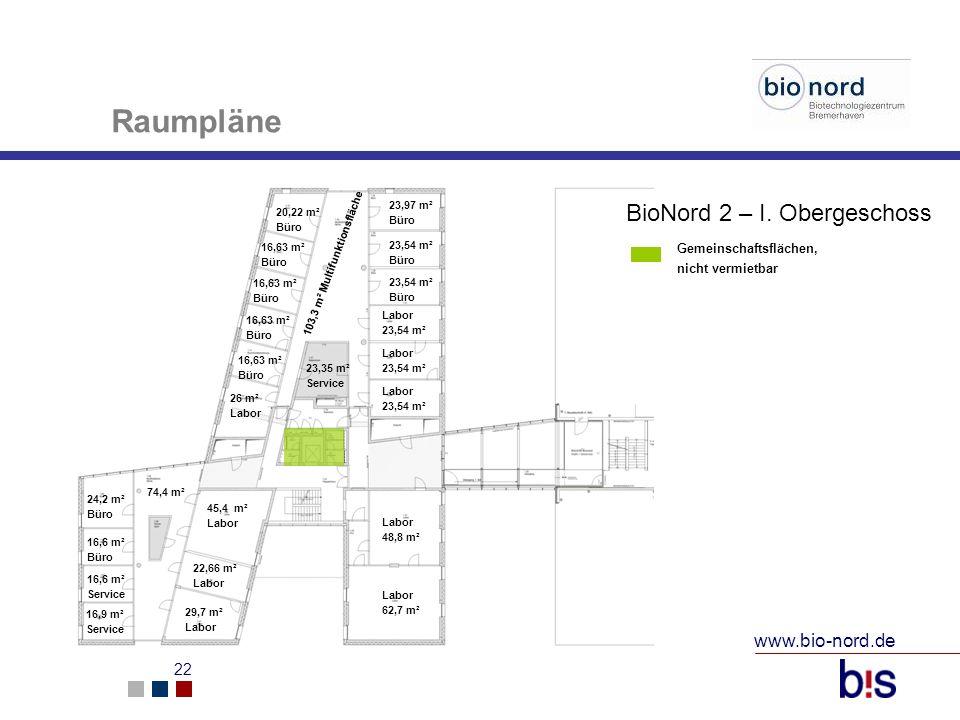 www.bio-nord.de 22 20,22 m² Büro 16,63 m² Büro 26 m² Labor 45,4 m² Labor 22,66 m² Labor 29,7 m² Labor 74,4 m² 24,2 m² Büro 16,6 m² Büro 16,6 m² Servic