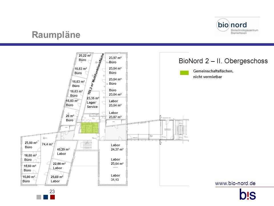 www.bio-nord.de 23 20,22 m² Büro 16,63 m² Büro 16,63 m² Büro 16,63 m² Büro 26 m² Büro 45,29 m² Labor 22,66 m² Labor 29,69 m² Labor 23,35 m² Lager/ Ser