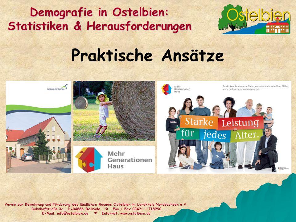 Praktische Ansätze Verein zur Bewahrung und Förderung des ländlichen Raumes Ostelbien im Landkreis Nordsachsen e.V. Bahnhofstraße 3c D-04886 Beilrode