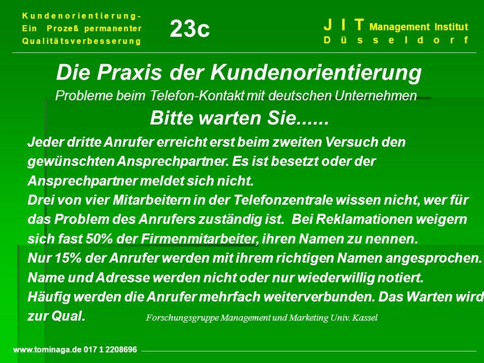 Kundenorientierung- Ein Prozeß permanenter Qualitätsverbesserung J I T Management Institut Düsseldorf www.tominaga.de 017 2208696 Die Praxis der Kunde