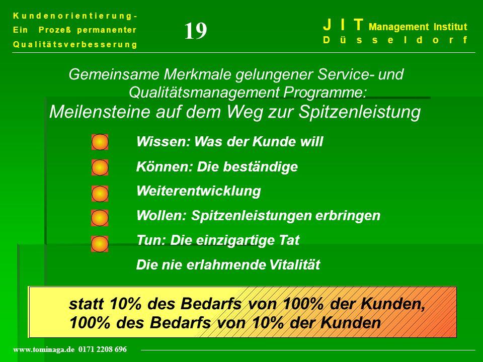 Kundenorientierung- Ein Prozeß permanenter Qualitätsverbesserung J I T Management Institut Düsseldorf www.tominaga.de 0171 2208 696 statt 10% des Beda