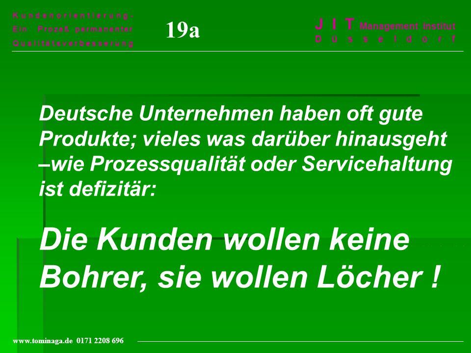 Kundenorientierung- Ein Prozeß permanenter Qualitätsverbesserung J I T Management Institut Düsseldorf www.tominaga.de 0171 2208 696 19a Deutsche Unter