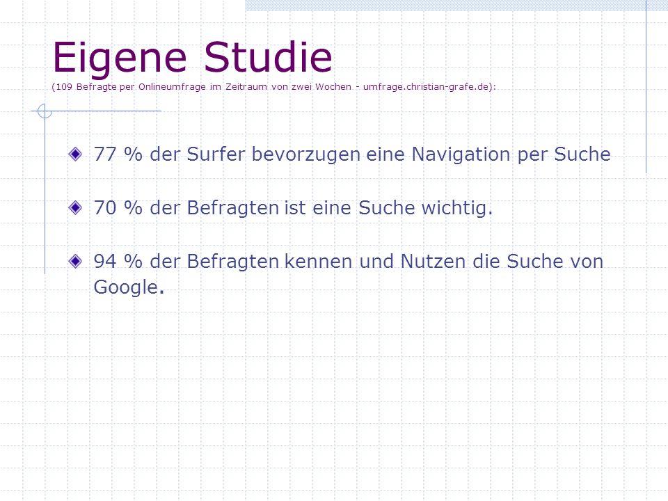 Eigene Studie (109 Befragte per Onlineumfrage im Zeitraum von zwei Wochen - umfrage.christian-grafe.de): 77 % der Surfer bevorzugen eine Navigation pe