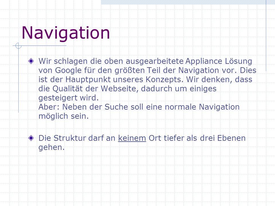 Navigation Wir schlagen die oben ausgearbeitete Appliance Lösung von Google für den größten Teil der Navigation vor. Dies ist der Hauptpunkt unseres K