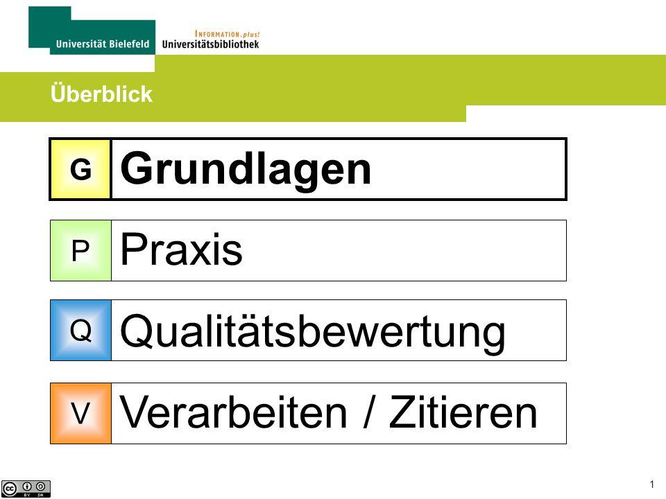 1 Grundlagen Praxis Qualitätsbewertung Verarbeiten / Zitieren Überblick G P Q V