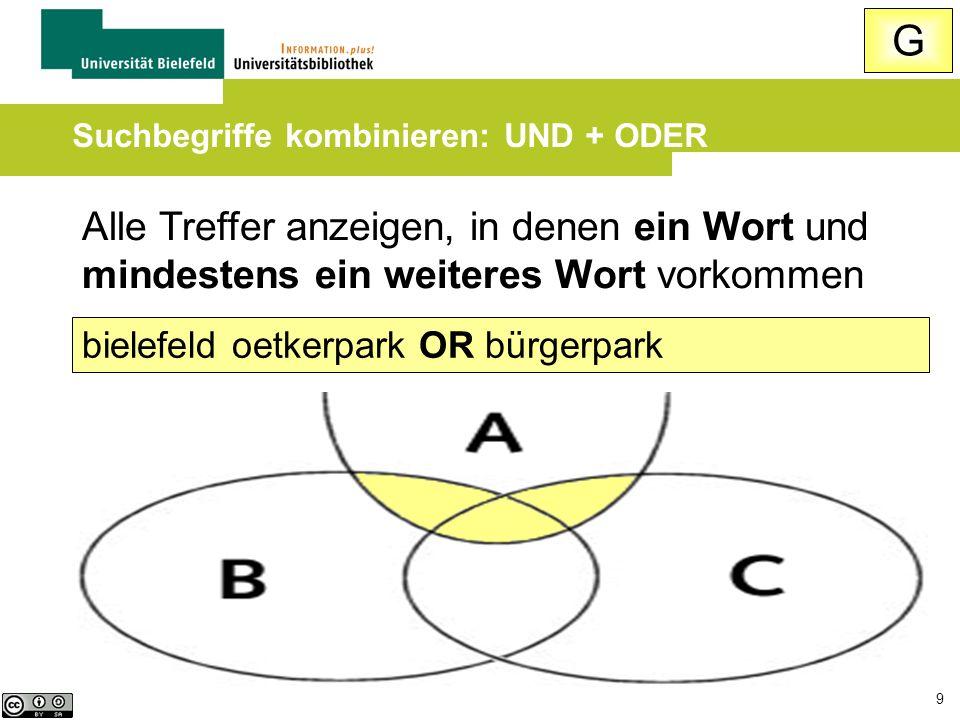 9 Alle Treffer anzeigen, in denen ein Wort und mindestens ein weiteres Wort vorkommen bielefeld oetkerpark OR bürgerpark Suchbegriffe kombinieren: UND + ODER G