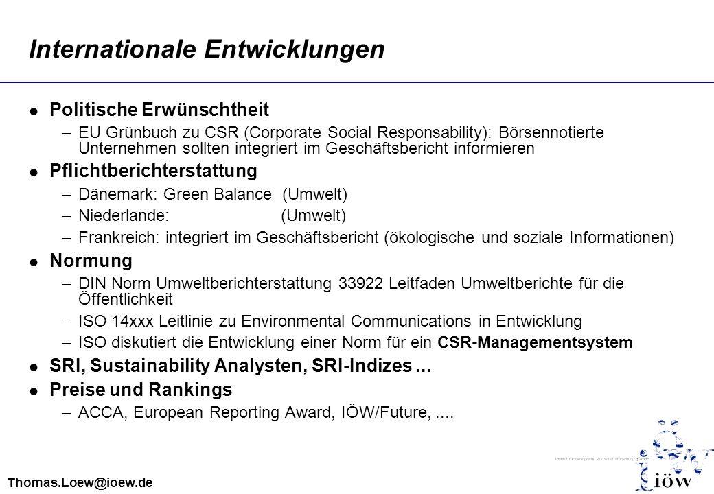 Thomas.Loew@ioew.de Internationale Entwicklungen Politische Erwünschtheit EU Grünbuch zu CSR (Corporate Social Responsability): Börsennotierte Unterne