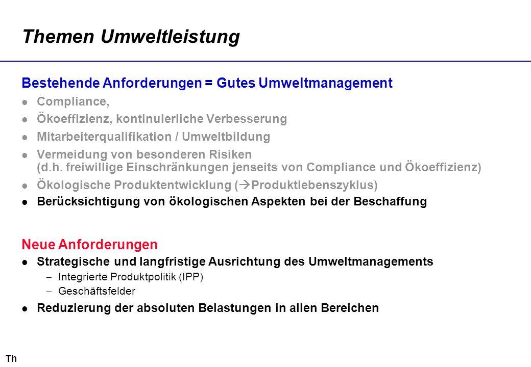 Thomas.Loew@ioew.de Themen Umweltleistung Bestehende Anforderungen = Gutes Umweltmanagement Compliance, Ökoeffizienz, kontinuierliche Verbesserung Mit
