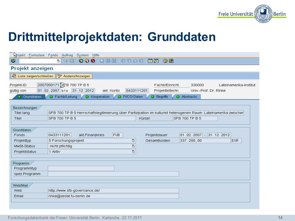 14 Forschungsdatenbank der Freien Universität Berlin. Karlsruhe, 23.11.2011 Drittmittelprojektdaten: Grunddaten