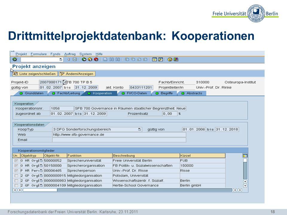 18 Forschungsdatenbank der Freien Universität Berlin. Karlsruhe, 23.11.2011 Drittmittelprojektdatenbank: Kooperationen