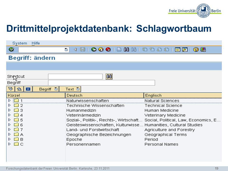 19 Forschungsdatenbank der Freien Universität Berlin. Karlsruhe, 23.11.2011 Drittmittelprojektdatenbank: Schlagwortbaum