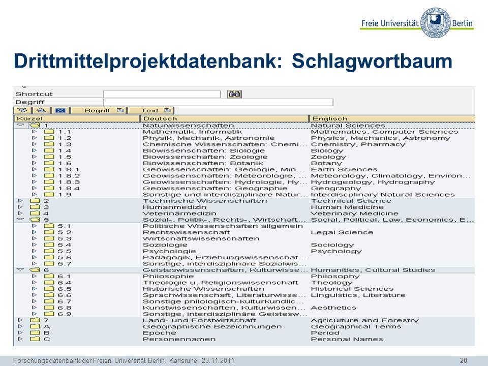 20 Forschungsdatenbank der Freien Universität Berlin. Karlsruhe, 23.11.2011 Drittmittelprojektdatenbank: Schlagwortbaum
