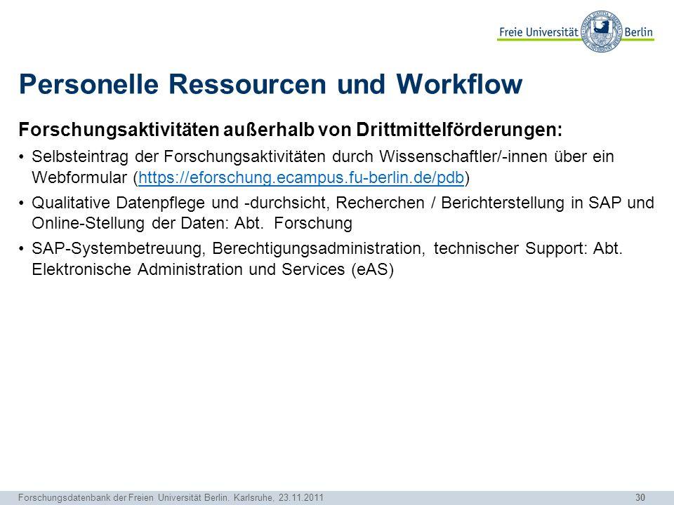 30 Forschungsdatenbank der Freien Universität Berlin. Karlsruhe, 23.11.2011 Personelle Ressourcen und Workflow Forschungsaktivitäten außerhalb von Dri