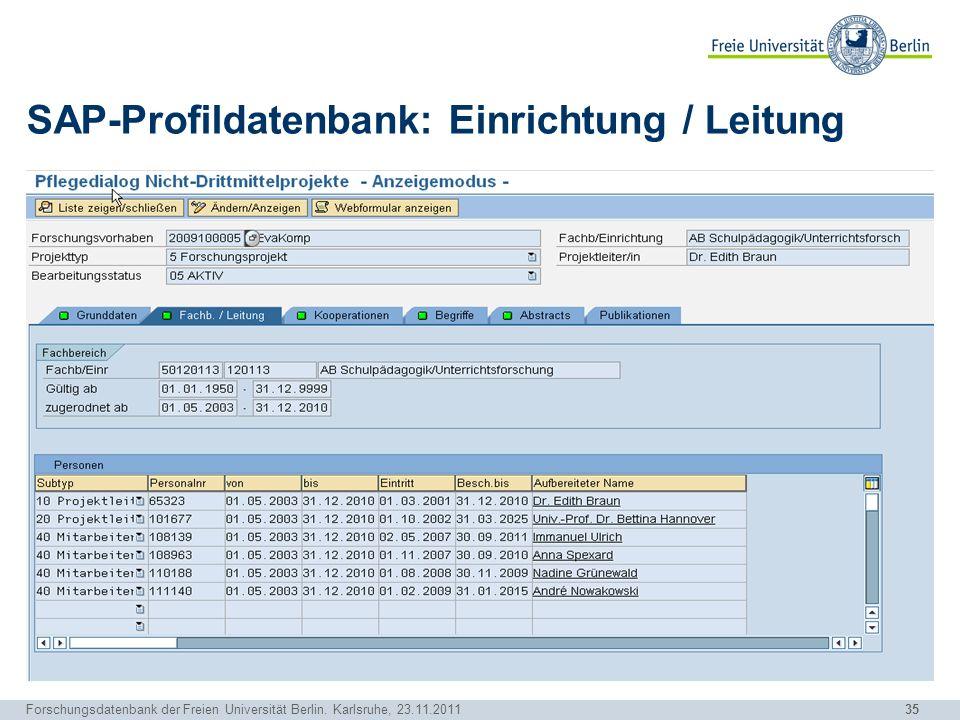 35 Forschungsdatenbank der Freien Universität Berlin. Karlsruhe, 23.11.2011 SAP-Profildatenbank: Einrichtung / Leitung