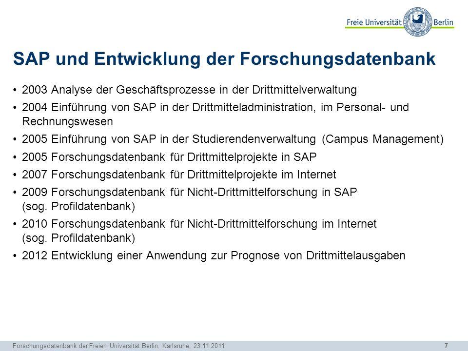 7 Forschungsdatenbank der Freien Universität Berlin. Karlsruhe, 23.11.2011 SAP und Entwicklung der Forschungsdatenbank 2003 Analyse der Geschäftsproze