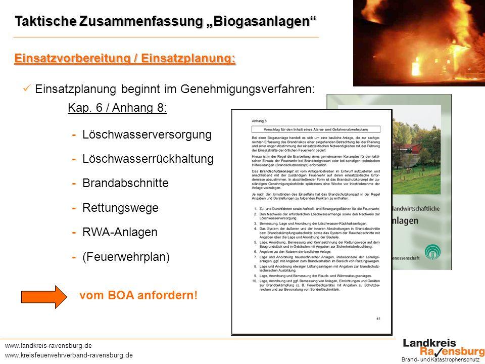 www.landkreis-ravensburg.de www.kreisfeuerwehrverband-ravensburg.de Taktische Zusammenfassung Biogasanlagen Brand- und Katastrophenschutz Einsatzvorbereitung / Einsatzplanung (Forts.): Einsatzvorbereitung durch Einsatzliteratur www.kohlhammer.dewww.lfs-bw.dewww.kfv-rv.de