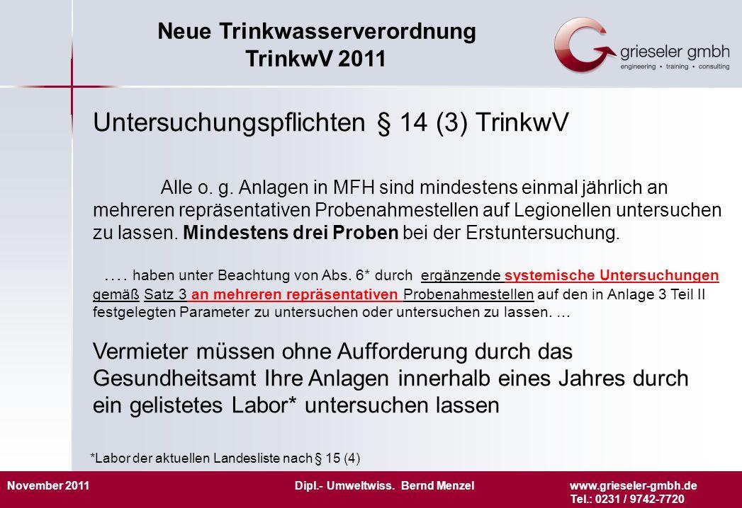 November 2011 Dipl.- Umweltwiss. Bernd Menzelwww.grieseler-gmbh.de Tel.: 0231 / 9742-7720 Neue Trinkwasserverordnung TrinkwV 2011 Untersuchungspflicht