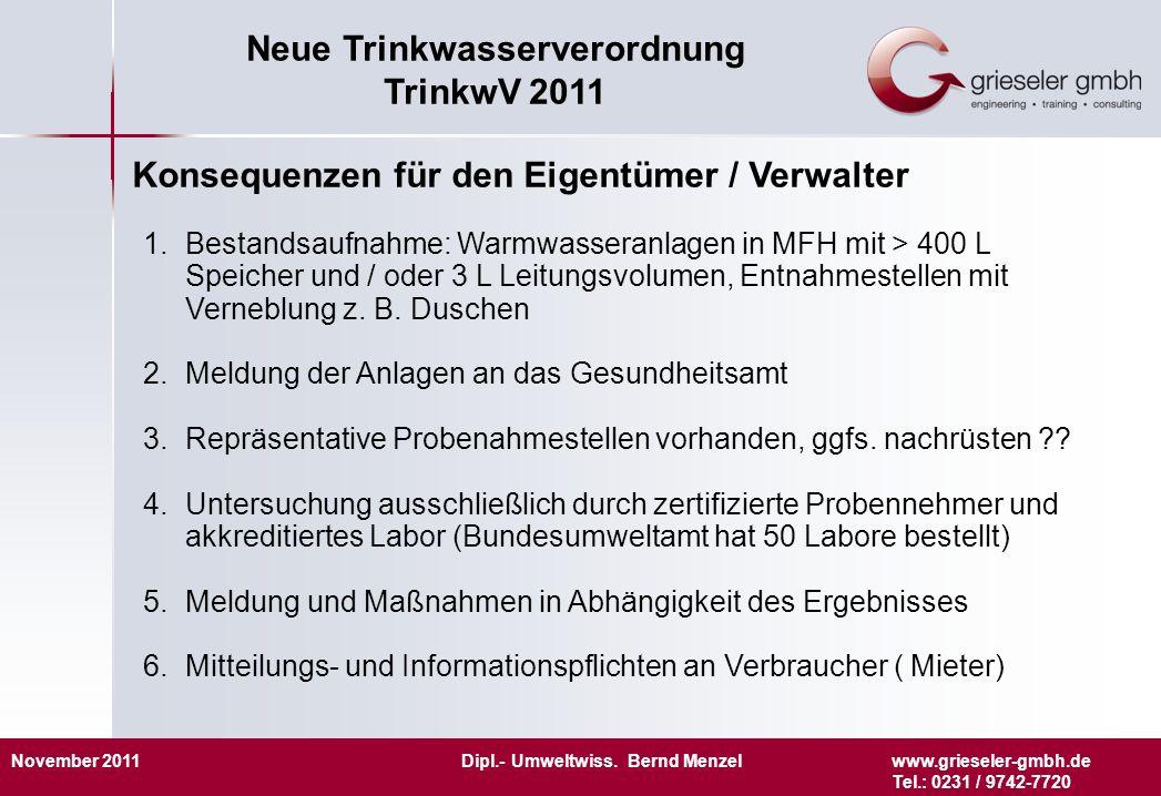 November 2011 Dipl.- Umweltwiss. Bernd Menzelwww.grieseler-gmbh.de Tel.: 0231 / 9742-7720 Neue Trinkwasserverordnung TrinkwV 2011 Konsequenzen für den