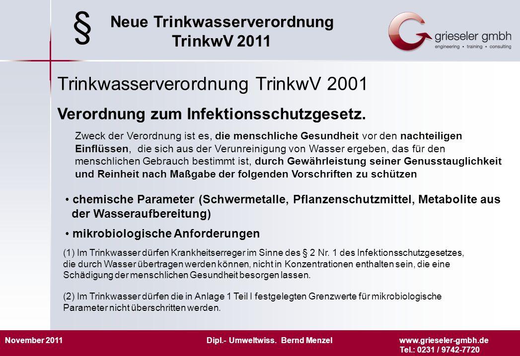 November 2011 Dipl.- Umweltwiss. Bernd Menzelwww.grieseler-gmbh.de Tel.: 0231 / 9742-7720 Neue Trinkwasserverordnung TrinkwV 2011 Trinkwasserverordnun