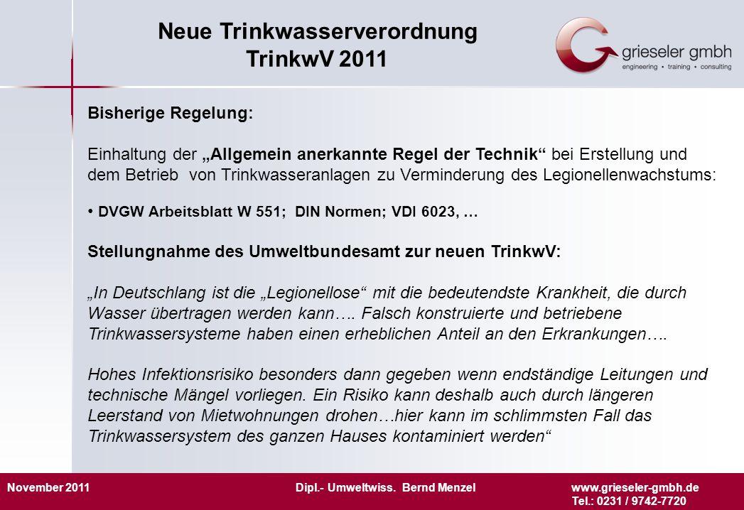 November 2011 Dipl.- Umweltwiss. Bernd Menzelwww.grieseler-gmbh.de Tel.: 0231 / 9742-7720 Neue Trinkwasserverordnung TrinkwV 2011 Bisherige Regelung: