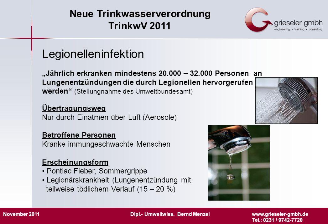 November 2011 Dipl.- Umweltwiss. Bernd Menzelwww.grieseler-gmbh.de Tel.: 0231 / 9742-7720 Neue Trinkwasserverordnung TrinkwV 2011 Legionelleninfektion