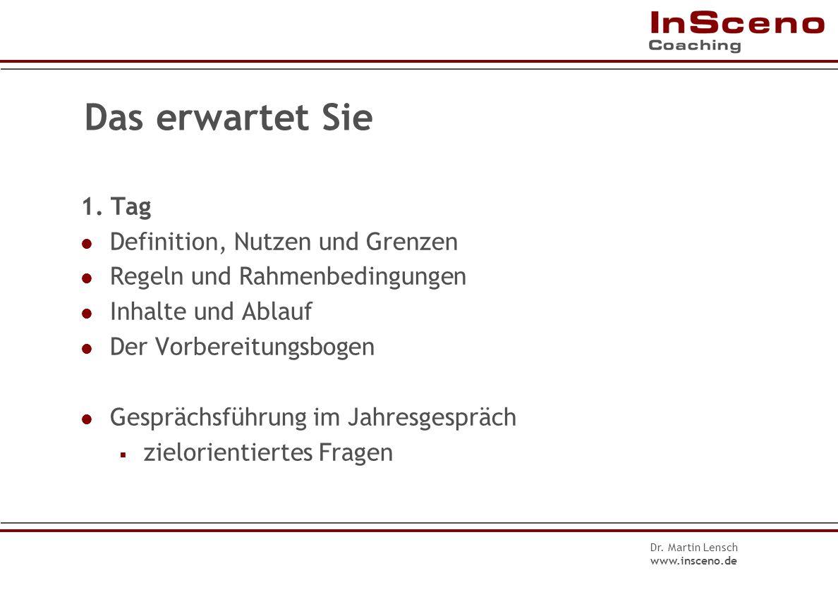 Dr.Martin Lensch www.insceno.de Fragen im Problem-Lösungs-Zyklus II 4.Was wäre gut für Sie.
