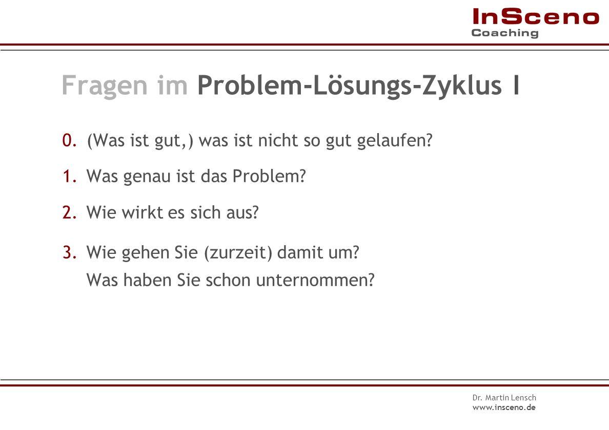 Dr. Martin Lensch www.insceno.de Einstieg ins Gespräch Die doppelte W- Frage Die Doppelfrage enthält zwei Fragen. Die Doppelfrage lässt dem Gesprächsp