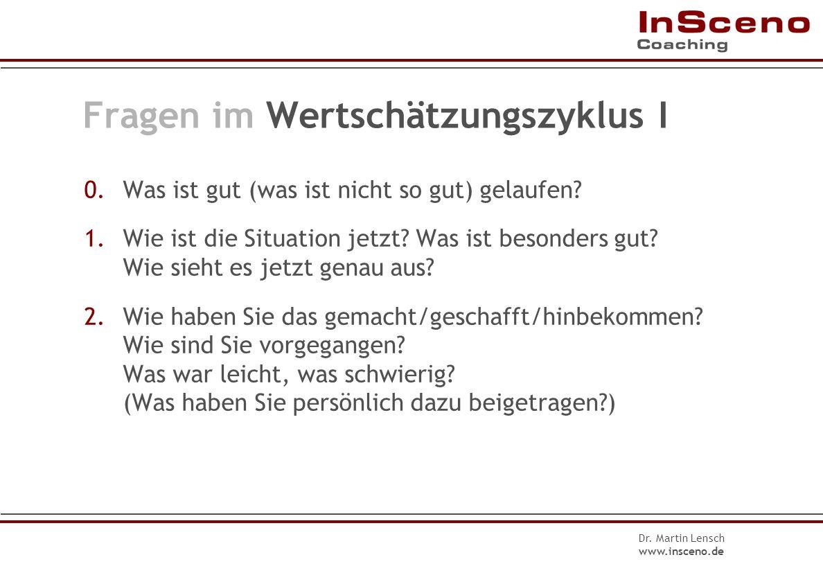 Dr. Martin Lensch www.insceno.de Fragen im Problem-Lösungs-Zyklus III 7.Konkretisierung: Wie genau? Wann? Wo? 8.Zusammenfassung: Ich mache …, Sie mach