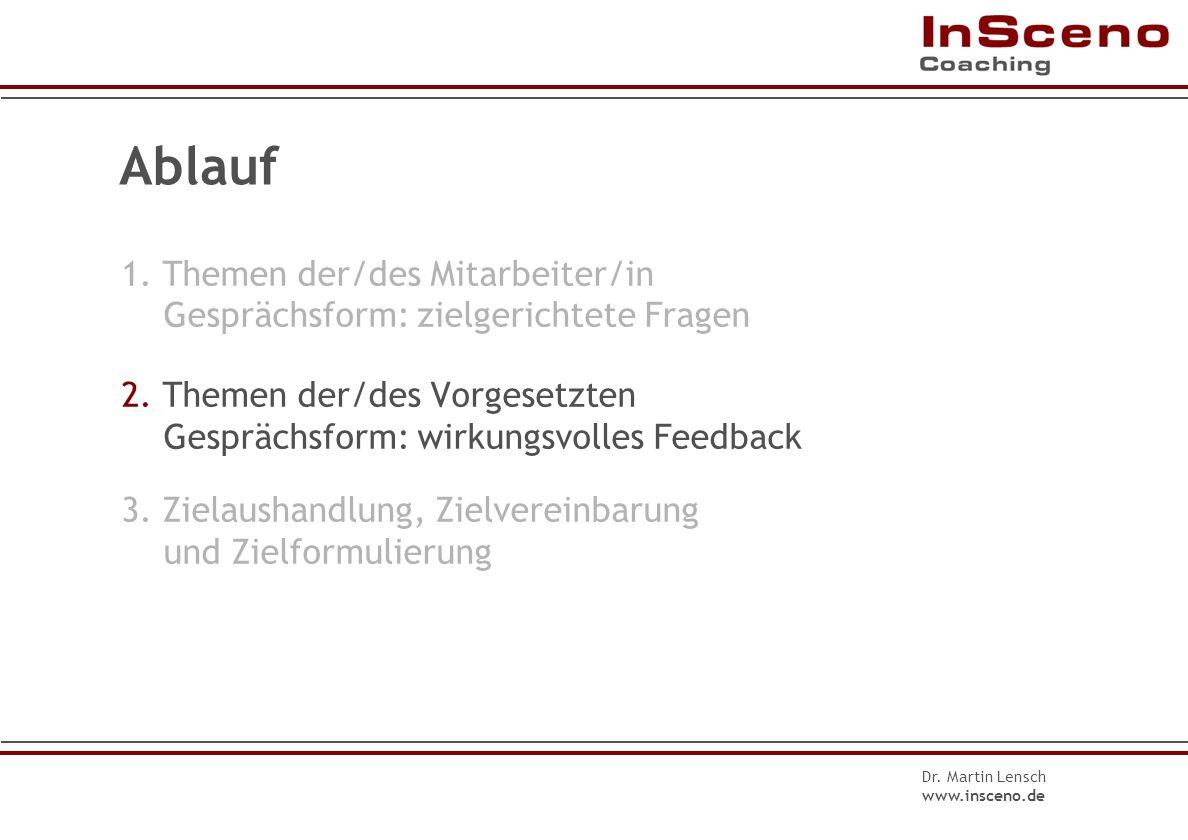 Dr. Martin Lensch www.insceno.de Fragen im Wertschätzungszyklus II 3.Welche Rückmeldungen haben Sie erhalten? Womit sind Andere besonders zufrieden? 4