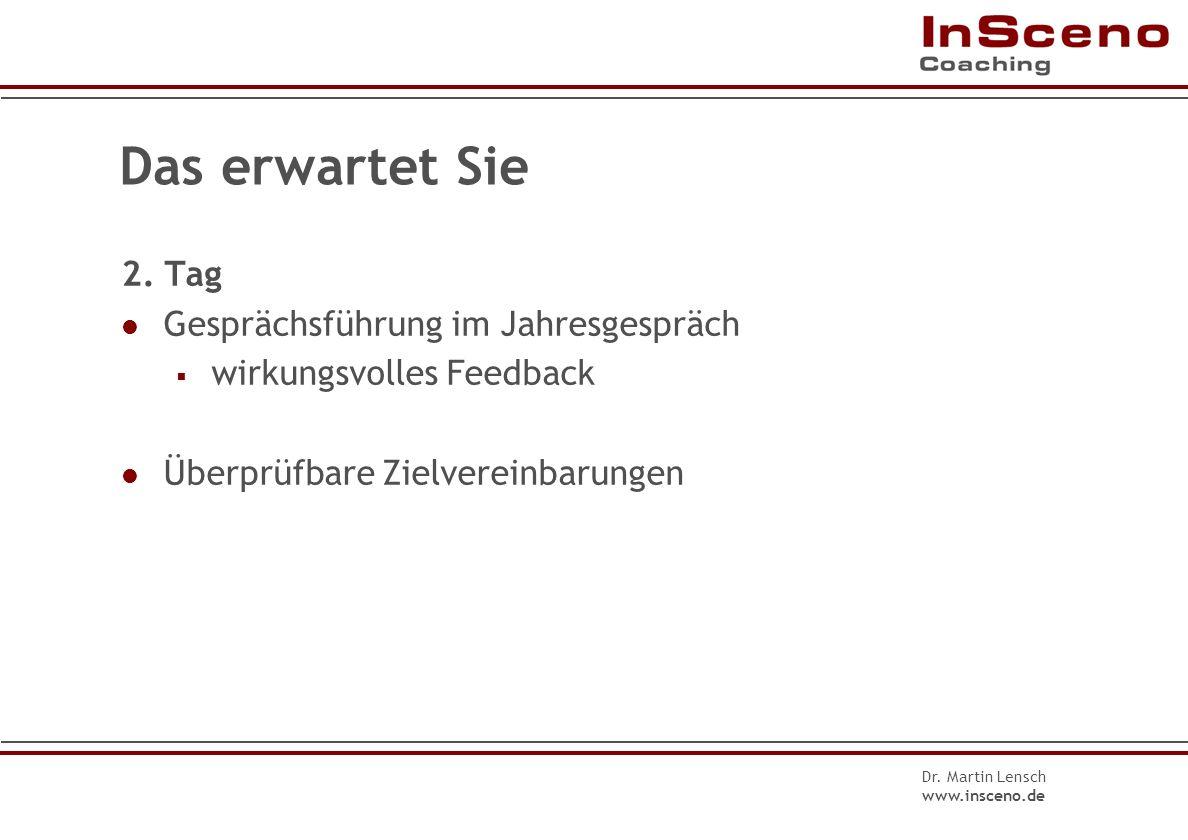 Dr. Martin Lensch www.insceno.de Das erwartet Sie 1. Tag Definition, Nutzen und Grenzen Regeln und Rahmenbedingungen Inhalte und Ablauf Der Vorbereitu