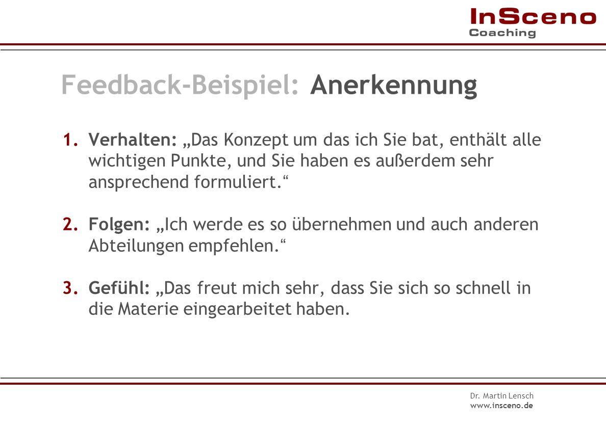 Dr. Martin Lensch www.insceno.de Feedback-Beispiel: Kritik 3.Gefühl: Ich fand es ärgerlich, dass ich die Kollegen vertrösten musste, und mache mir Sor