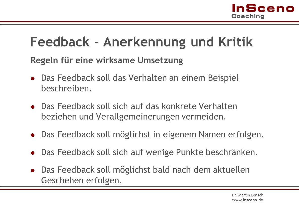 Dr. Martin Lensch www.insceno.de Feedback-Beispiel: Anerkennung 1.Verhalten: Das Konzept um das ich Sie bat, enthält alle wichtigen Punkte, und Sie ha