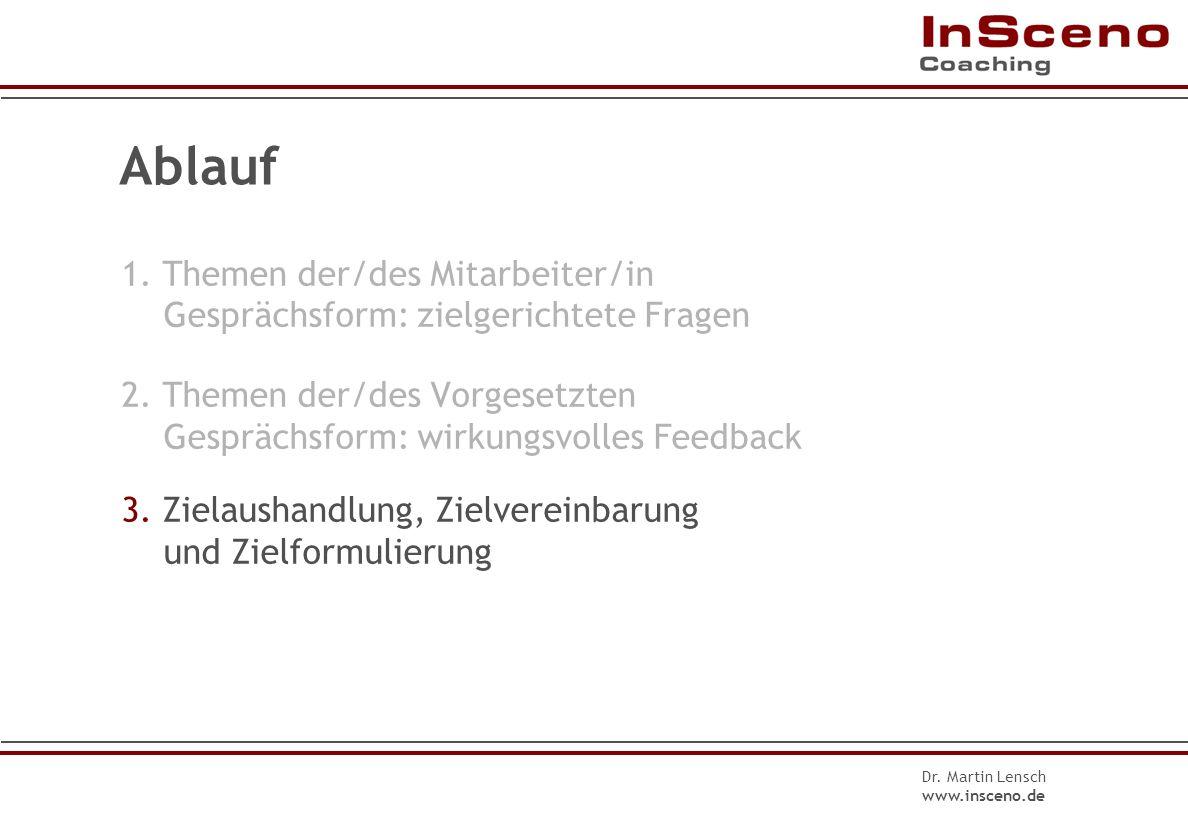 Dr. Martin Lensch www.insceno.de Feedback - Anerkennung und Kritik Regeln für eine wirksame Umsetzung Das Feedback soll das Verhalten an einem Beispie