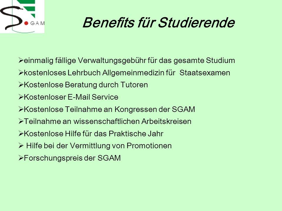 Benefits für Studierende einmalig fällige Verwaltungsgebühr für das gesamte Studium kostenloses Lehrbuch Allgemeinmedizin für Staatsexamen Kostenlose