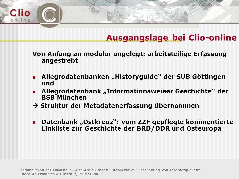 Tagung Von der Linkliste zum zentralen Index – Kooperative Erschließung von Internetquellen Ibero-Amerikanisches Institut, 23.Mai 2005 Ausgangslage be