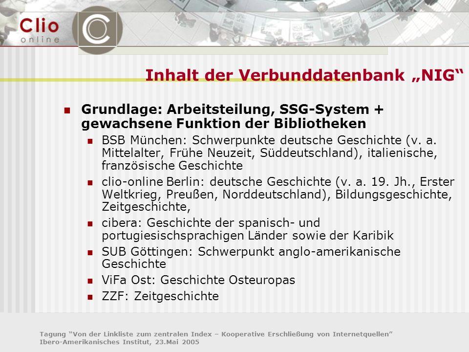 Tagung Von der Linkliste zum zentralen Index – Kooperative Erschließung von Internetquellen Ibero-Amerikanisches Institut, 23.Mai 2005 Inhalt der Verb