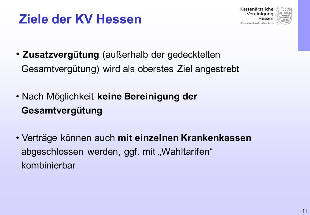 11 Ziele der KV Hessen Zusatzvergütung (außerhalb der gedecktelten Gesamtvergütung) wird als oberstes Ziel angestrebt Nach Möglichkeit keine Bereinigu