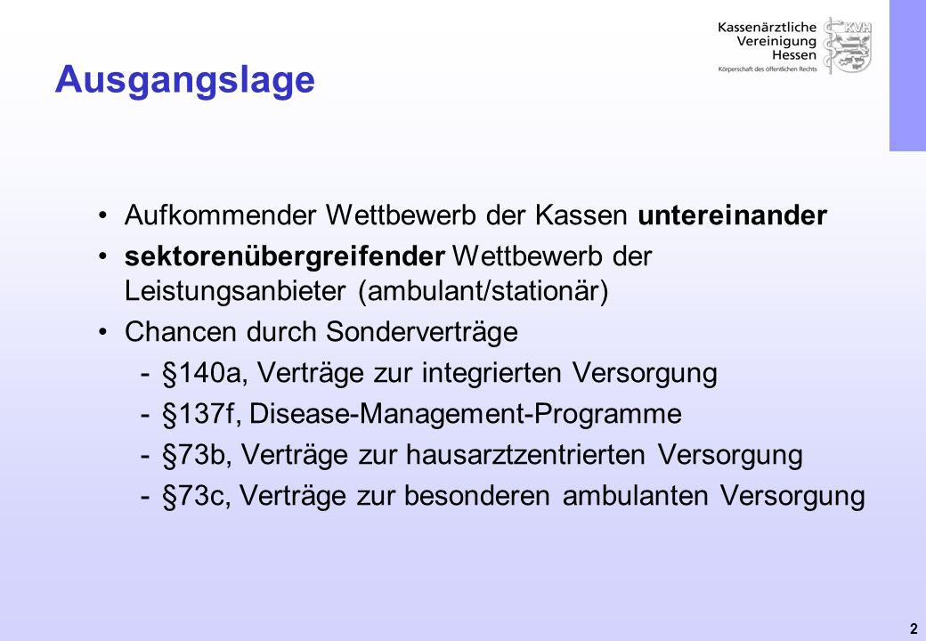 3 Ausgangslage §73c SGB V § 73c: Besondere ambulante ärztliche Versorgung Die Krankenkassen können ihren Versicherten die Sicherstellung der ambulanten ärztlichen Versorgung durch Abschluss von Verträgen nach Absatz 4 anbieten.