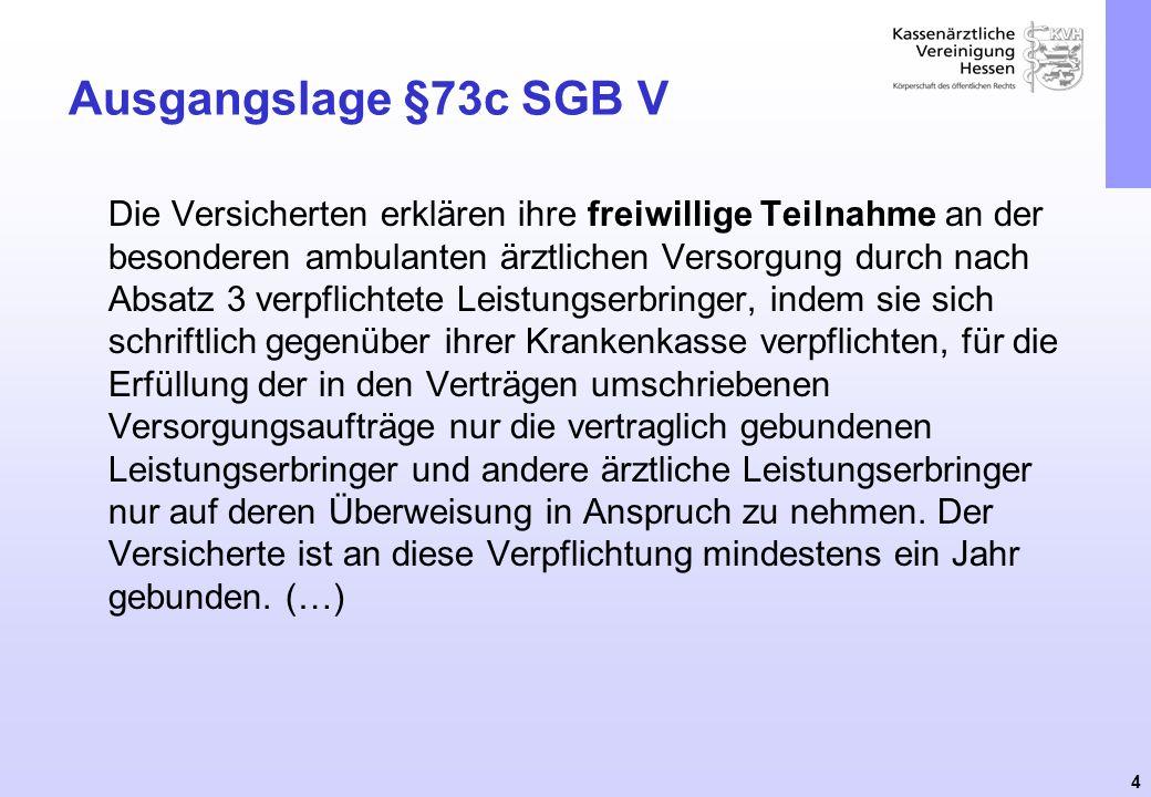 4 Ausgangslage §73c SGB V Die Versicherten erklären ihre freiwillige Teilnahme an der besonderen ambulanten ärztlichen Versorgung durch nach Absatz 3