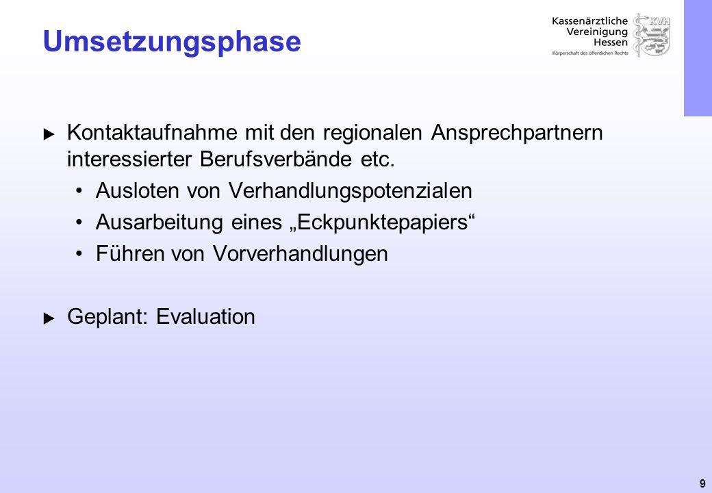 9 Umsetzungsphase Kontaktaufnahme mit den regionalen Ansprechpartnern interessierter Berufsverbände etc. Ausloten von Verhandlungspotenzialen Ausarbei