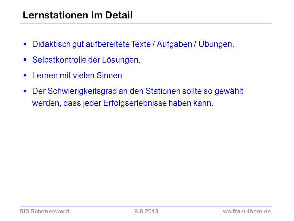 SIS Schönenwerd9.8.2013wolfram-thom.de Didaktisch gut aufbereitete Texte / Aufgaben / Übungen. Selbstkontrolle der Lösungen. Lernen mit vielen Sinnen.