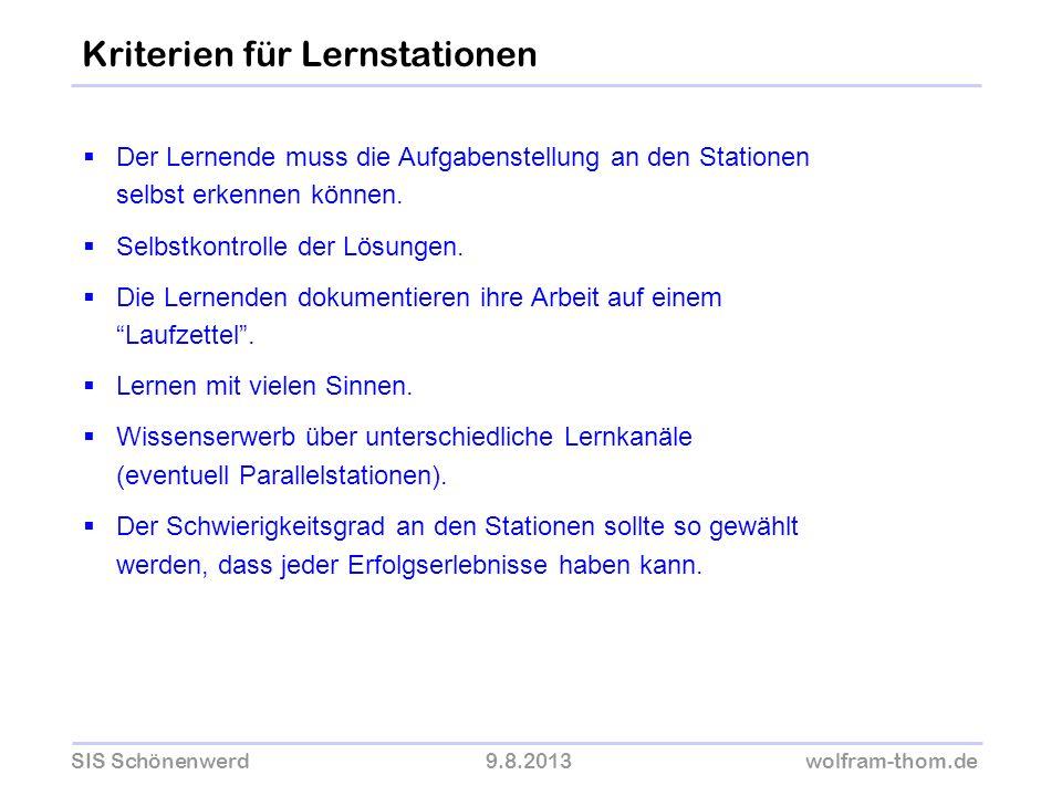 SIS Schönenwerd9.8.2013wolfram-thom.de Der Lernende muss die Aufgabenstellung an den Stationen selbst erkennen können. Selbstkontrolle der Lösungen. D
