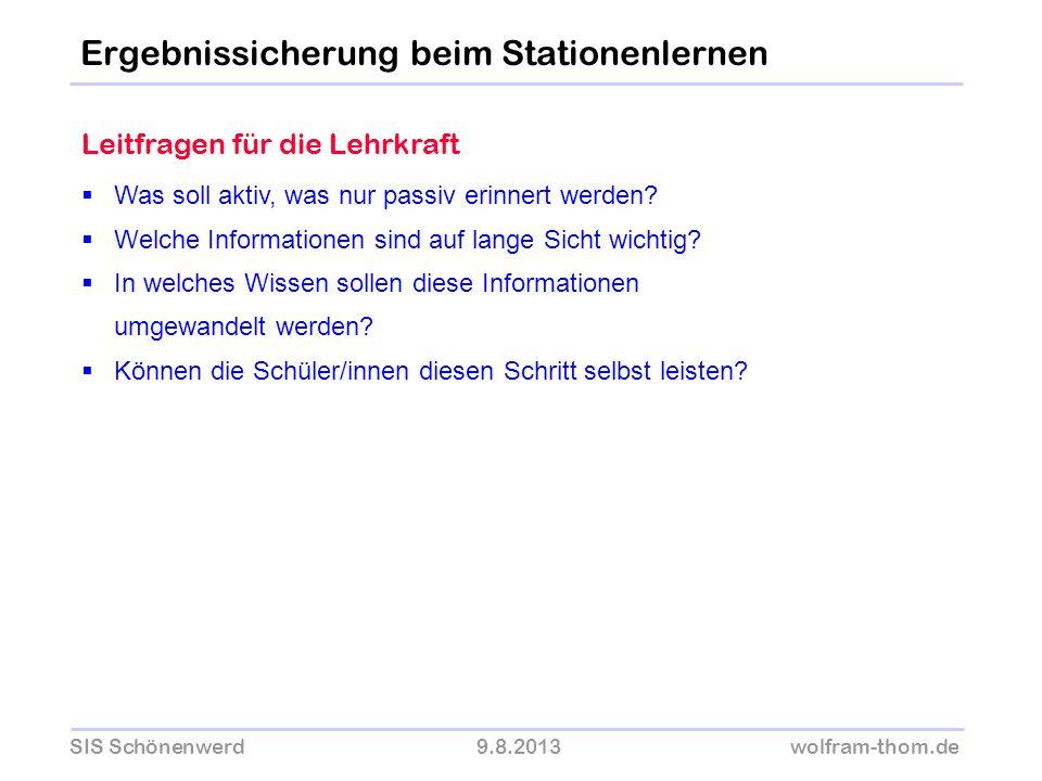 SIS Schönenwerd9.8.2013wolfram-thom.de Was soll aktiv, was nur passiv erinnert werden? Welche Informationen sind auf lange Sicht wichtig? In welches W
