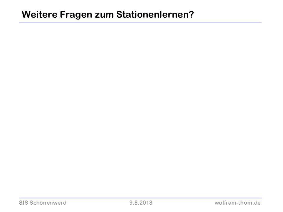 SIS Schönenwerd9.8.2013wolfram-thom.de Weitere Fragen zum Stationenlernen?