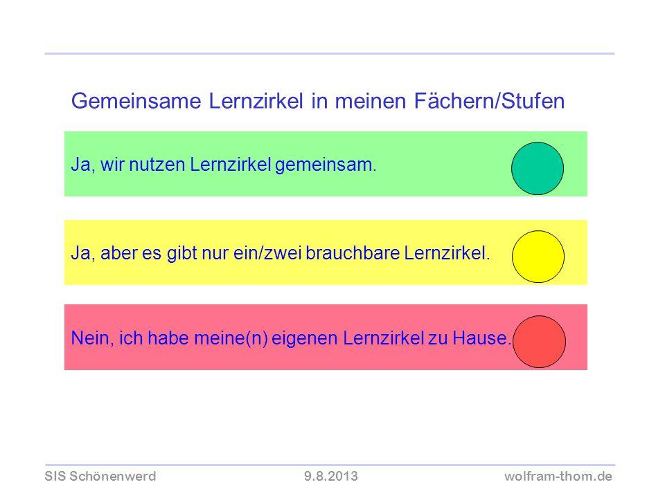 SIS Schönenwerd9.8.2013wolfram-thom.de Ja, wir nutzen Lernzirkel gemeinsam. Ja, aber es gibt nur ein/zwei brauchbare Lernzirkel. Gemeinsame Lernzirkel