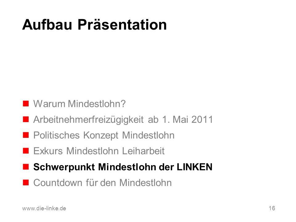 Aufbau Präsentation Warum Mindestlohn? Arbeitnehmerfreizügigkeit ab 1. Mai 2011 Politisches Konzept Mindestlohn Exkurs Mindestlohn Leiharbeit Schwerpu