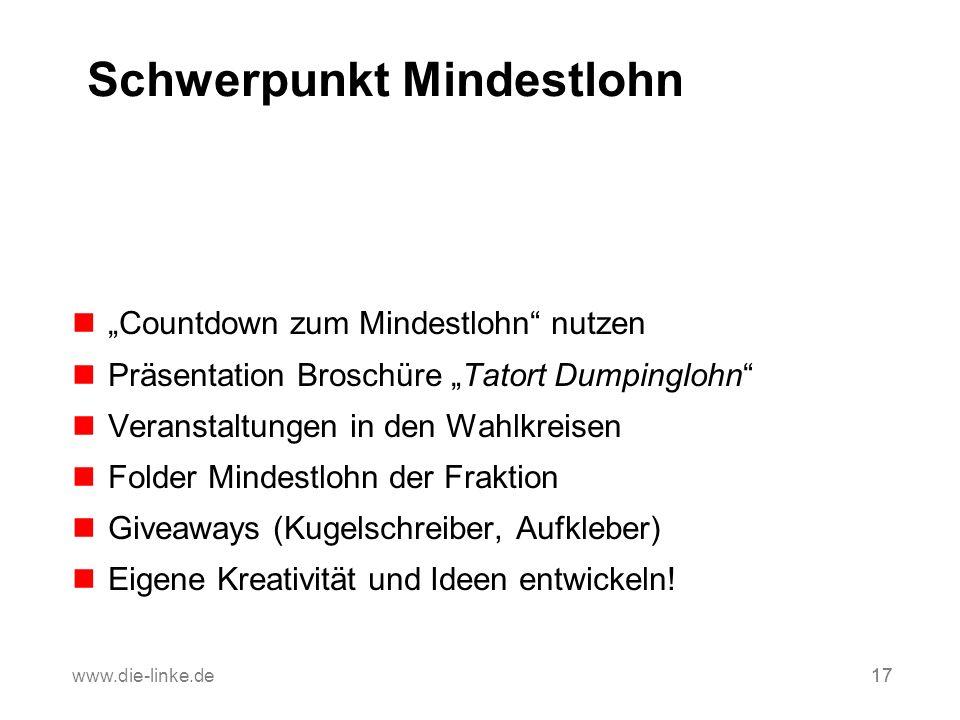 17www.die-linke.de17 Schwerpunkt Mindestlohn Countdown zum Mindestlohn nutzen Präsentation Broschüre Tatort Dumpinglohn Veranstaltungen in den Wahlkre