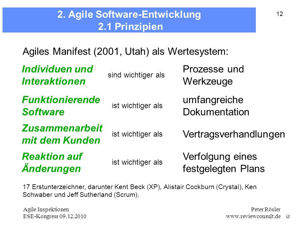 Agile Inspektionen ESE-Kongress 09.12.2010 Peter Rösler www.reviewconsult.de 12 2. Agile Software-Entwicklung 2.1 Prinzipien 17 Erstunterzeichner, dar