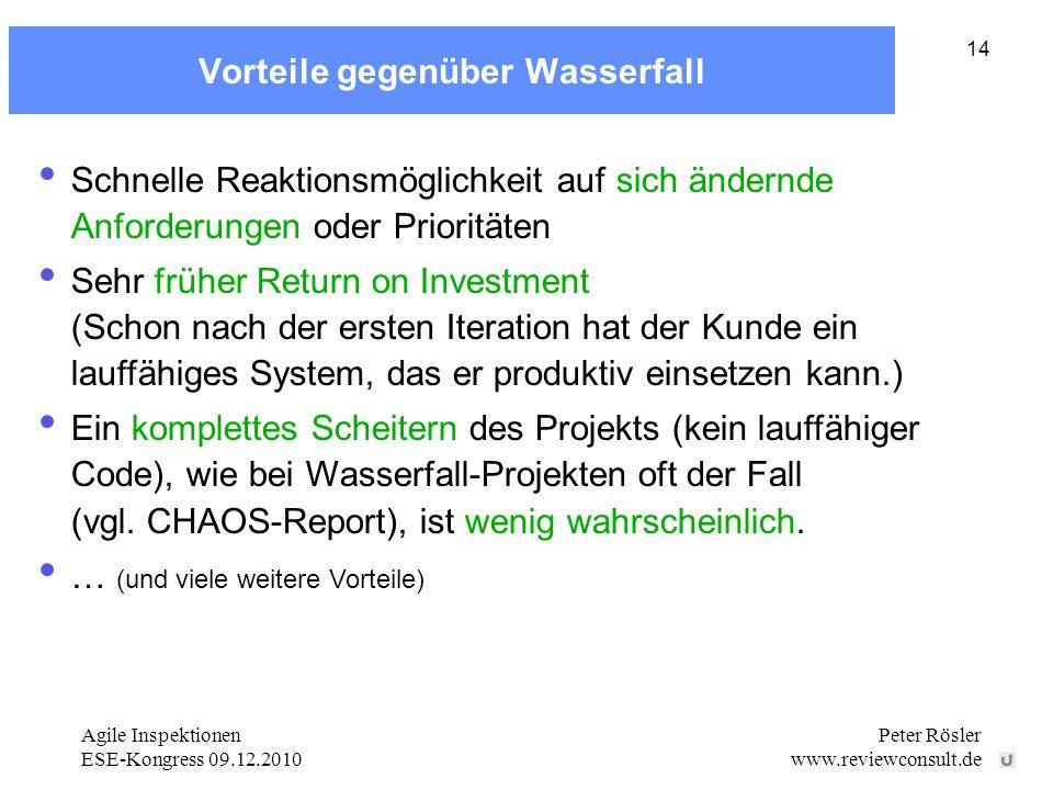 Agile Inspektionen ESE-Kongress 09.12.2010 Peter Rösler www.reviewconsult.de 14 Vorteile gegenüber Wasserfall Schnelle Reaktionsmöglichkeit auf sich ändernde Anforderungen oder Prioritäten Sehr früher Return on Investment (Schon nach der ersten Iteration hat der Kunde ein lauffähiges System, das er produktiv einsetzen kann.) Ein komplettes Scheitern des Projekts (kein lauffähiger Code), wie bei Wasserfall-Projekten oft der Fall (vgl.