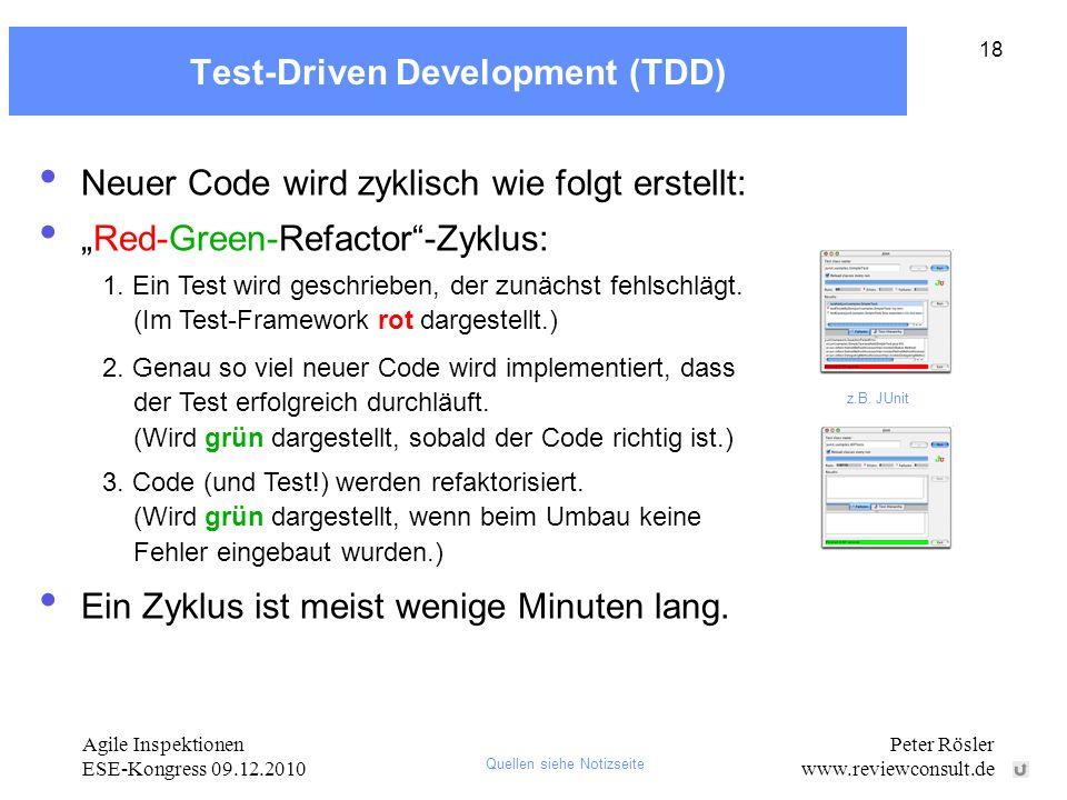 Agile Inspektionen ESE-Kongress 09.12.2010 Peter Rösler www.reviewconsult.de 18 Test-Driven Development (TDD) Neuer Code wird zyklisch wie folgt erste